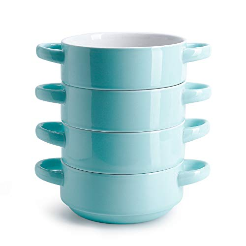 Porcelain Bowls with Handles, Turquoise