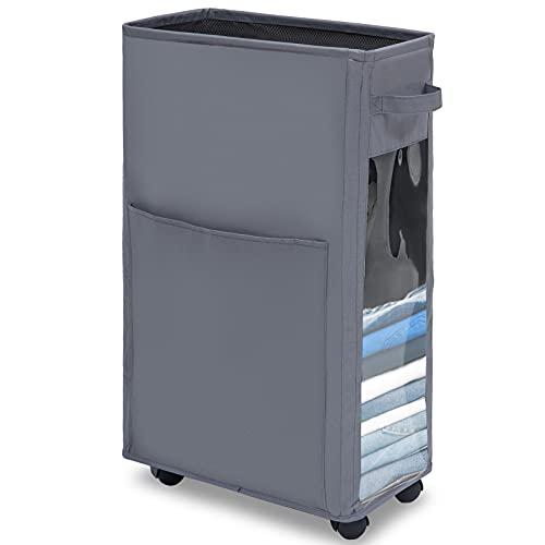 WiseWater 68,6 cm schmaler Wäschekorb, 65 l, groß, faltbar, Roll-Wäschekorb, Wagen mit Griff und Rädern, wasserdicht und atmungsaktiv, Netzfutter für schmutzige Kleidung (grau)