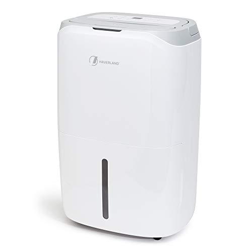 Haverland DES19   Deshumidificador 20 litros/Día   Gran Deposito de 6,5 litros   con Asa y Ruedas   Ayuda a Secar la Ropa y a Purificar el Aire con Filtro HEPA y carbón Activo