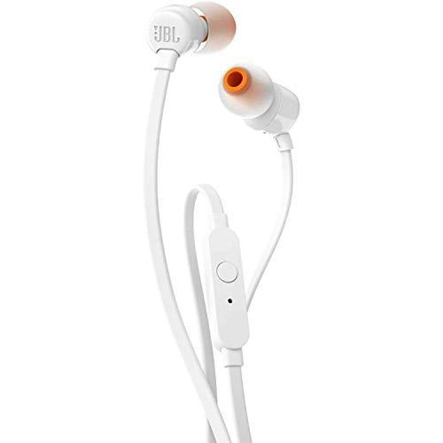 JBL T110 Auriculares In Ear con Pure Bass - Con manejo de un solo botón y micrófono, color blanco