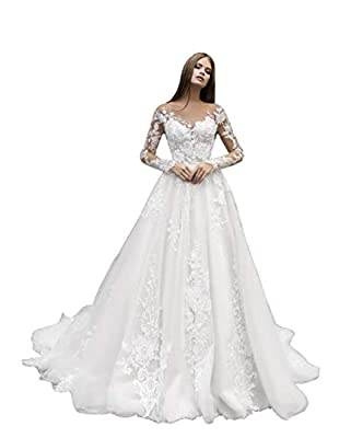 ❤Features: lace beach wedding dresses with appliques, long bohemian mermaid bridal gowns with train, long sleeve a-line princess bridal dresses for women 2021 ❤Size selection: please refer to our size chart in the section of product images(last pictu...