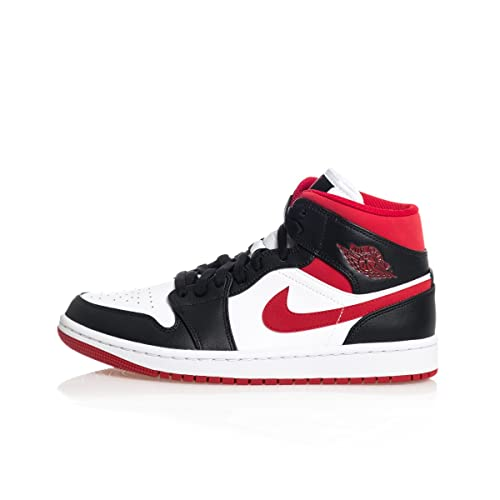 Nike Air Jordan 1 Mid, Scarpe da Basket Uomo, White/Gym Red-Black, 42 EU