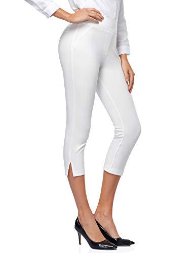 Tapata Mujer 52cm Pantalones Pantalones Pierna Recta Capri Elsticos de Cintura Alta Pantalones con Puo para Oficina Negocios Casual, Bianco, L