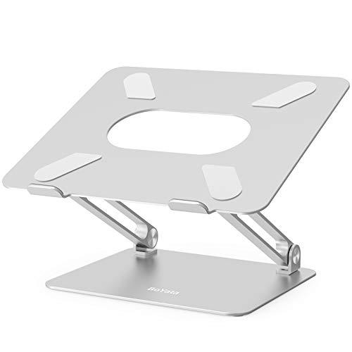 BoYata Laptop ständer: Multi-Angle-Standfuß mit Heat-Vent, Aluminium Einstellbares Notebook ständer kompatibel für Laptop (10-17 Zoll), einschließlich MacBook Pro/Air, Surface, Samsung, HP (Silber)