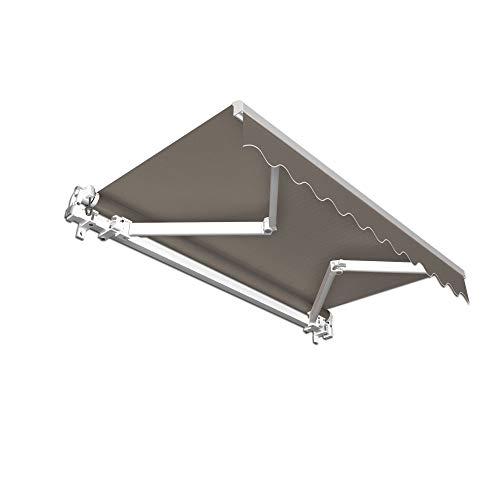 jarolift Gelenkarmmarkise Basic Markise mit Volant für Terrasse Garten Balkon, 350 x 300 cm (Breite x Ausfall), Stoff anthrazit Uni