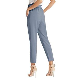 GRACE KARIN Pantaloni Donna Eleganti a Vita Alta Lunghezza Ritagliata 9/10 con Fiocco Decorato
