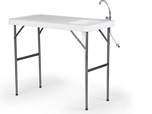 Organized Fishing Lightweight Folding Fillet Table with Locking Legs, Drain Assembly and Faucet, FT-001