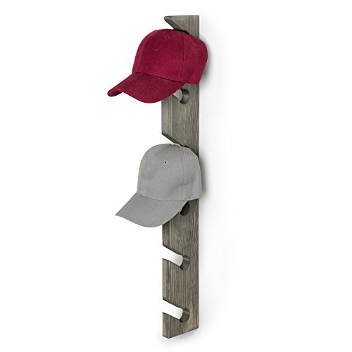 MyGift Barnwood Gray Wood Wall Mounted 6-Slot Baseball Cap Display Rack