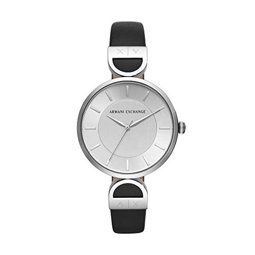 Armani Exchange Damen Analog Quarz Uhr mit Leder Armband AX5323