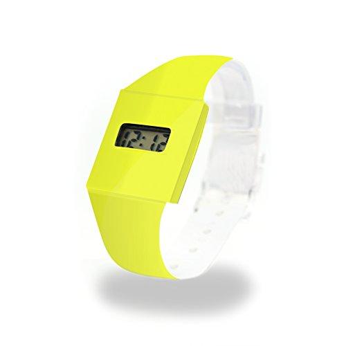 YELLOW/NEON - Pappwatch - Paperlike Watch - Digitale Armbanduhr im trendigen Design - aus absolut reissfestem und wasserabweisenden Tyvek® - Made in Germany, absolut reißfest und wasserabweisend