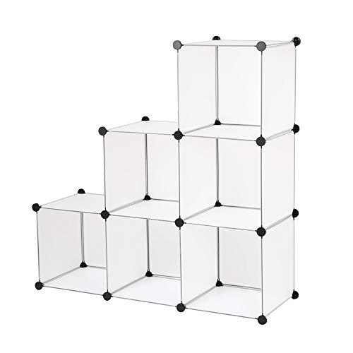 Edaygo Scaffale Componibile a Incastro Guardaroba Armadio Modulare in Plastica 110 x 74 x 37 cm, Trasparente, 6 Cubi