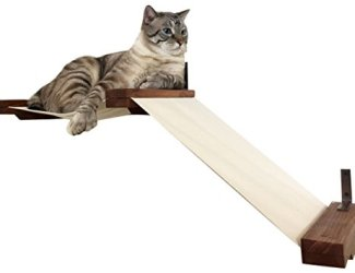 CatastrophiCreations Fabric Raceway Hammock Lounger Wall-Mounted Cat Shelving,English Chestnut / Natural,Small
