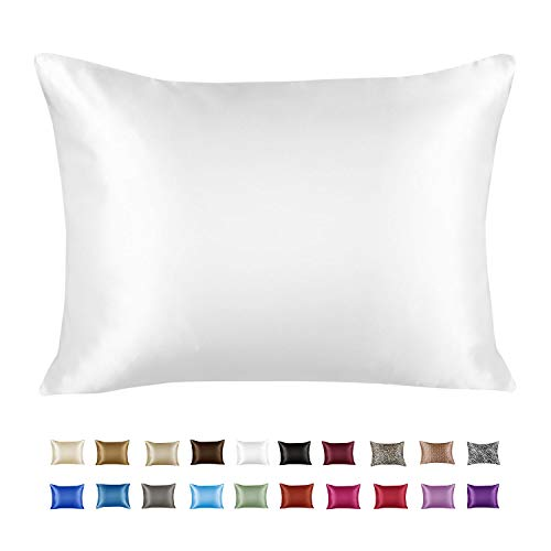 ShopBedding Luxury Satin Pillowcase for Hair – Standard Satin Pillowcase with Zipper, White (1 per Pack) – Blissford
