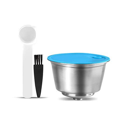 I Cafilas capsula riutilizzabile in acciaio inox per Dolce Gusto, ricaricabile capsula di ricambio per Dolce Gusto, con 1 cucchiaino da caffè e 1 spazzola per la pulizia
