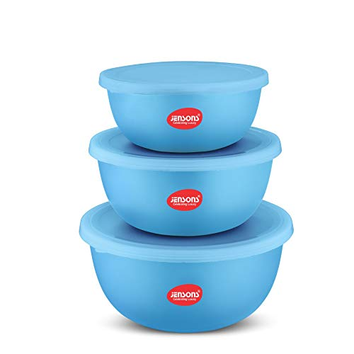 Jensons Flora Stainless Steel Microwave Safe 3 Pcs. Bowl Set with Lid-Blue