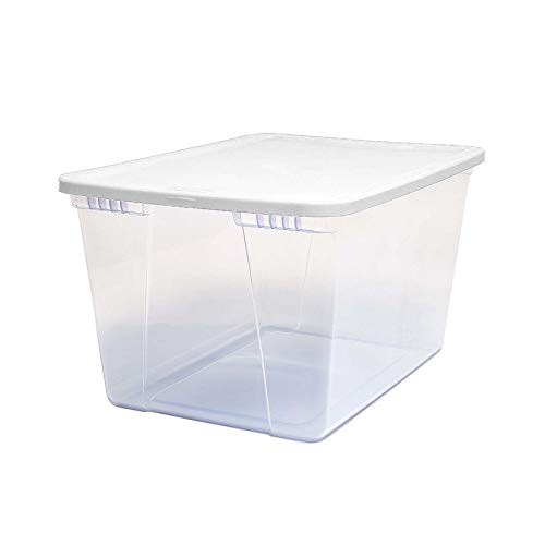Homz Plastic Storage Bins, Snap Lock White Lids, 56 Quart, Clear, Stackable, 8-Pack