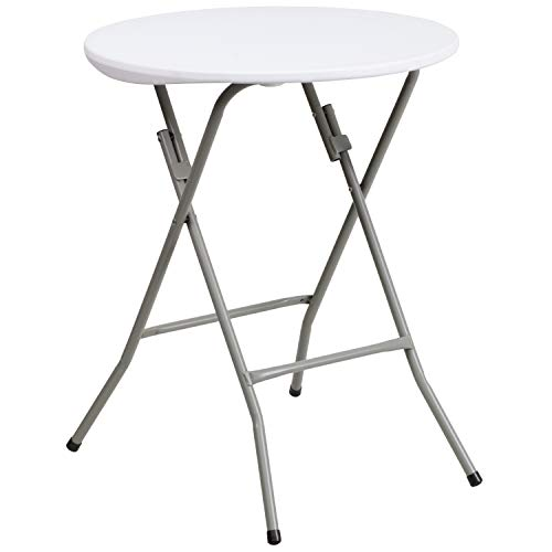 Flash Furniture 2-Foot Round Granite White Plastic Folding Table -