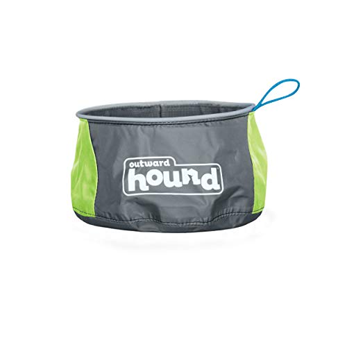 Outward Hound Kyjen 23002 Port A Bowl Collapsible Travel Dog Food Bowl Water Bowl, Large, Blue