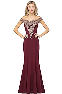 Features: Off Shoulder, Sweetheart, Rhinestone beaded, Gold Lace Appliques, Floor Length, Long Mermaid Prom Dress Women's Off Shoulder Gold Lace Appliques Crystal Formal Mermaid Prom Long Eevening Wedding Party Dresses Occasion : Formal, Prom, Party,...