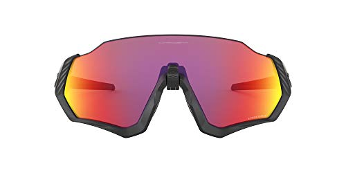 Oakley Men's OO9401 Flight Jacket Shield Sunglasses, Matte Black/Prizm Road, 37 mm