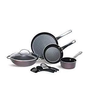 Meyer Aluminium Cookware Set, Kadai, Frypan, Saucepan, Flat Dosa Tawa, Lid With Accessories, 8 Piece...