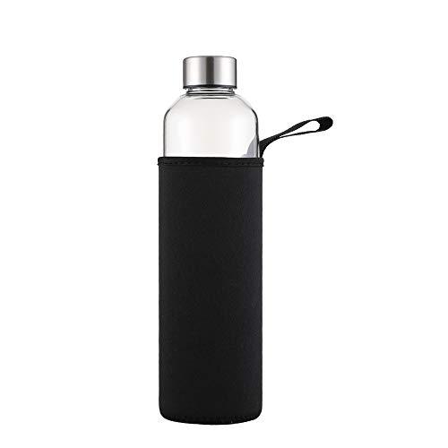 sunkey Bottiglia Acqua 1L in Vetro Borosilicato Trasparente con Neoprene Custodia Bpa Free, Borraccia Sportiva in Vetro Portatile