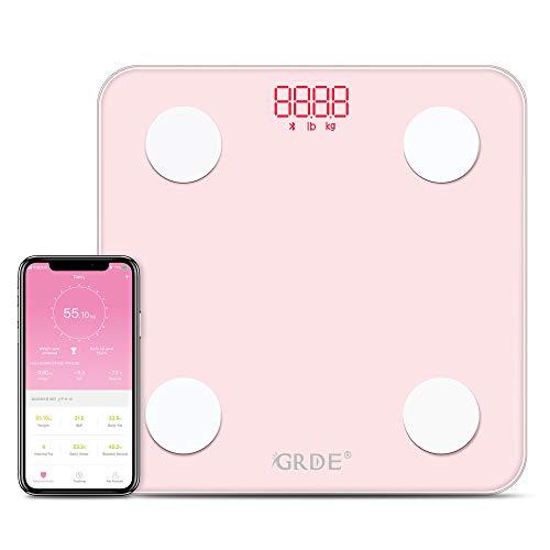 Pèse Personne Impédancemètre, GRDE Balance Connectée, Pèse-Personne Bluetooth de Bains Impedancemetre avec 13 Données Corporelles (BMI/Muscle/Graisse Corporelle/Masse Osseuse) pour iOS et Android