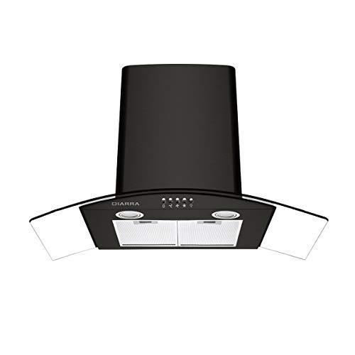 CIARRA CBCB9506B Cappa Aspirante Cucina 90 cm in Vetro e Acciaio Inox, Aspirazione per 550 m/h, 3...