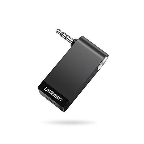UGREEN Bluetooth Adapter Auto Bluetooth Empfänger Aux 4.2 A2DP Audio Bluetooth Receiver Klinke mit integriertem Mikrofon Unterstützt für Auto Stereoanlage Lautsprecher iPhone 11 Pro Samsung Note 10 usw.