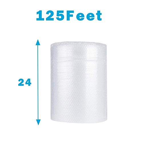 "Upkg 125ft Bubble Cushioning Wrap Rolls, 1/2"" Big Air Bubble, 24 Inch x125 Feet Total, Perforated Every 24"" for Packing, Shipping, Mailing"