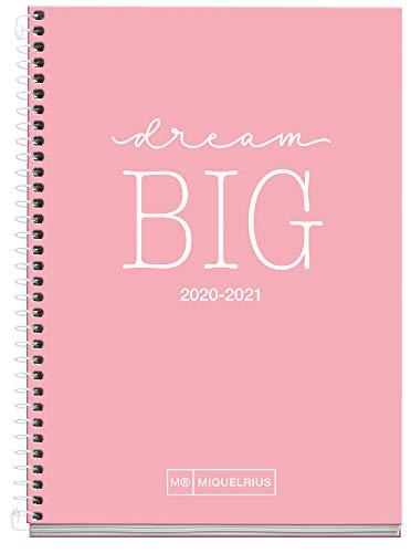 MIQUELRIUS - Agenda Escolar Write Curso Lectivo 2020-2021, Español, Semana Vista, Tamaño 117x174 mm, Papel 70 g, Cubierta cartón extraduro, Color Rosa