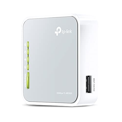 TP-Link 300Mbps Wireless 3G/4G Portable Router with Access Point/WISP/Router Modes (TL-MR3020), Travel-sized Design, with Mini USB Port, Internal Antenna