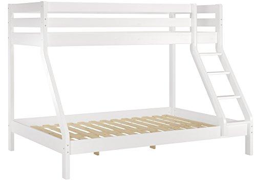 Erst-Holz® Doppel-Etagenbett weiß 140x200 und 90x200 Erwachsenen-Stockbett Kiefer Massivholz 60.19-09-14W