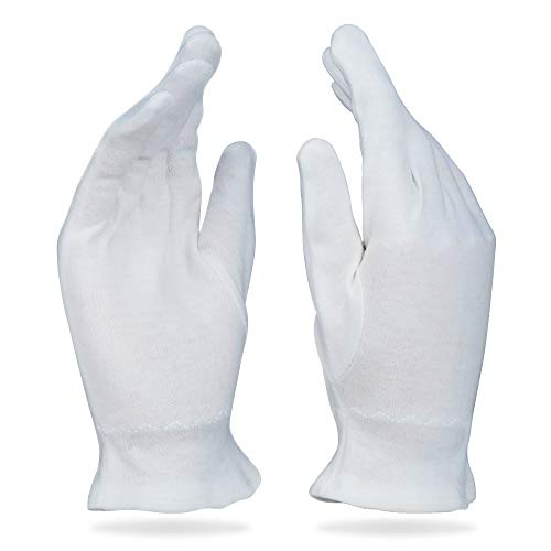 White Cotton Gloves for Dry Hands - Overnight Eczema Moisturizing Lotion Treatment - 20 Medium Jersey Glove Liners by Beauty Care Wear
