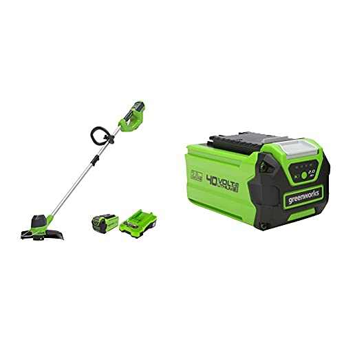 Greenworks Tools Decespugliatore A Batteria G40Ltk2, Li-Ion 40 V Larghezza 30 Cm 7000 Rpm Testa Motore Girevole Inclinabile, Manico In Alluminio Flowerguard & Batteria G40B2