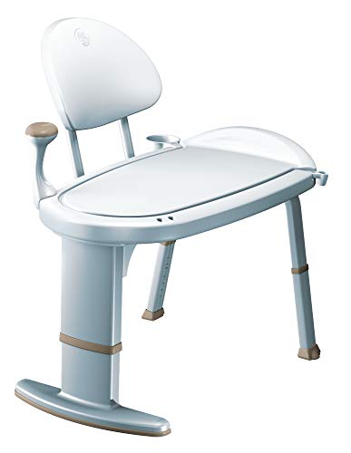 Moen DN7105 Home Care 33-Inch W x 18-Inch D Adjustable Height Non Slip Bath Safety Transfer Bench, Glacier White