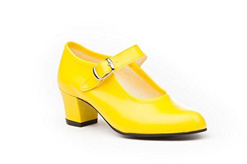 Zapatos Flamenca Para Niña y Mujer, Mod. 302, Calzado Made In Spain (22, Amarillo)