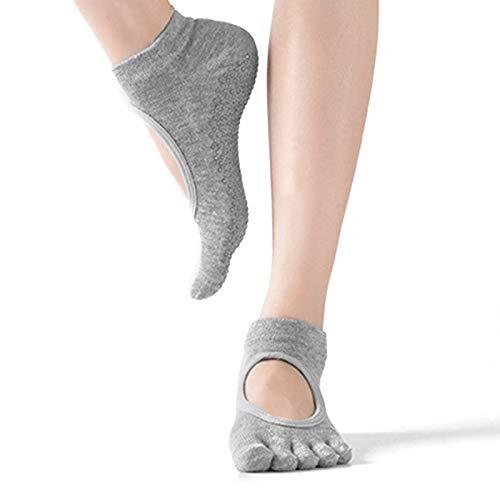 HEIGOO Calzini da yoga per donne con impugnature, taglia da 2 a 6.5 calzini antiscivolo a cinque dita, da utilizzare per pilates, sbarra, danza classica, danza, grigio