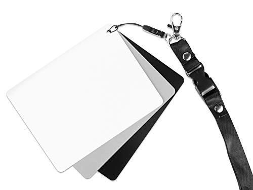 Ares Foto Graukarte für Outdoor Fotografie. Inklusive Schwarz- und Weißreferenz und Trageband. Für Belichtungsmessung und Weißabgleich. Mittlere Größe: 13cm x 10cm (GC-3)