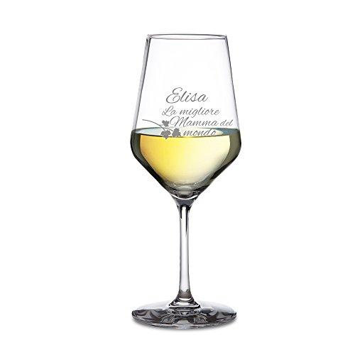 AMAVEL Calice da Vino Bianco - Bicchiere in Vetro con Incisione - La Migliore Mamma del Mondo - Personalizzabile con Nome - Idea Regalo Natale o Compleanno Originale - Degustazione - Accessori Cucina
