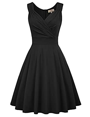 V Neck, Sleeveless, A-line silhouette,Concealed zipper in the back Flared A-Line Party Dress, Top with Lining, Skirt without (Recommended to wear light-colored slip if order dress in white.) 1950s Retro Swing Dress great for Work Casual Wear, Formal ...