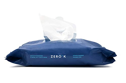 """Zero K Cooling Wipes (72 Count) Witch Hazel Wipes for Workout Camping Hiking; Moist Towelettes for Travel 8""""x7"""""""
