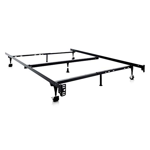 MALOUF Structures Heavy Duty Adjustable Metal Center Support and Rug Rollers bed frame, Queen, Full XL, Full, Twin XL, Twin, Black
