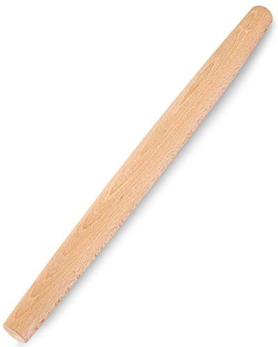 French Rolling Pin for Baking - Gifbera Better Wood Beech Dough Roller Baking Utensils for Pizza Bread Pastry Fondant, 18-Inch