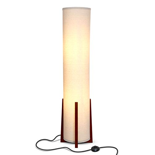 Brightech Parker - Decorative Tower Shade Floor Lamp for Living Rooms - Contemporary Column Lamp - Soft Light for Bedroom Standing 48 Inches (4') Tall - Asian Design w/Wood Frame - Incl. 2 LED Bulbs