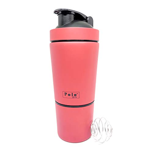 Polo Lifetime Stainless Steel Shaker for Gym with Extra Storage Compartment for Protein Shakes/Smoothies/Supplements (Orange, Approx. 750ml)