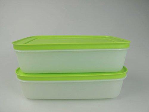 Tupperware 27619 - 2 contenitori per congelatore da 1 litro, colore: verde/bianco 27619