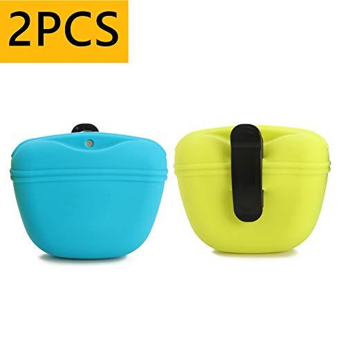 RoyalCare Hunde Futterbeutel für Hundetraining mit Clip Magnetverschluss in Silikon für Außenbereich, 2 Stück,Grün&Blau