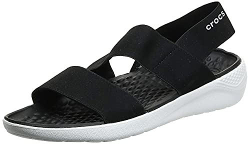 Crocs LiteRide Stretch Sandal W, Punta Aperta Donna, Nero (Black/White), 39/40 EU