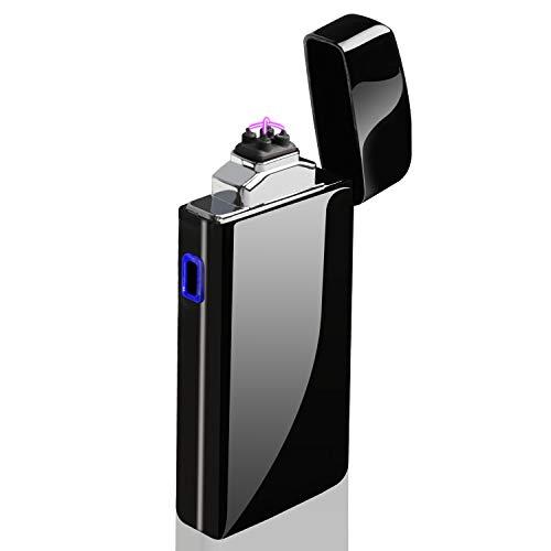 AngLink Encendedor Electrico, Mechero Eléctrico de Doble Arco USB Recargable sin Llama Resistente al Viento ARC Encendedor Plasma más Ligero para los Fumadores Cocina Barbacoa